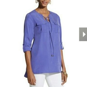 Chico's Linda Top Secretly Smooth Purple Lace Up